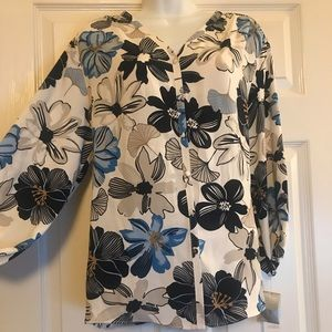 NWT Modern Chic Tropical Floral in Blues Blouse